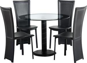 Black Glass Tables glass dining table and chairs | ebay