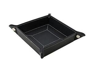 Decorebay Easy Pocket Dump Foldable Travel Leather Valet Tra(Black)