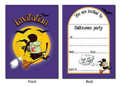 Halloween Invitations - Fun 'Witch' design - x 24, with or without envelopes - Fun Halloween Invitations