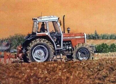 Massey Ferguson 390 Tractor Artists Painting Brochureposter Advert A3