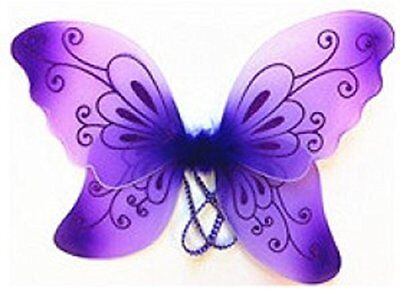Sparkling Purple Fantasy Butterfly Fairy Wings Tinkerbell Kids Costume Accessory