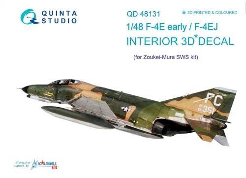 Quinta Studio QD48131 1/48 F-4E Early (ZM) Interior Set w/free shipping