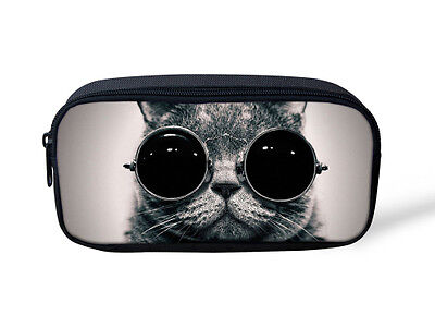 Cat Makeup For Kids (Glasses Cat Gray Kids Pencil Bag Pen Case Women Makeup Cosmetic Travel Bag)