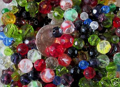 (1/2 Lb/ Half Pound- Assorted Faceted Round Glass Beads- Medium 6mm- 10mm Sizes)