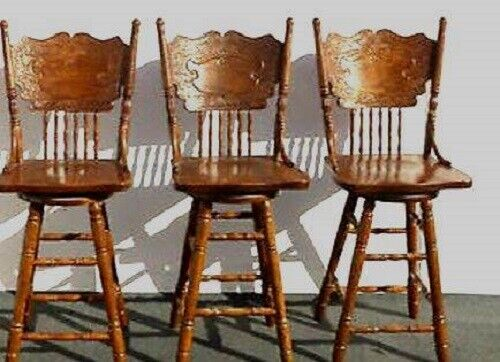Vintage Antique Oak Swivel Barstools Spindle Back Bar Stools | sold individually