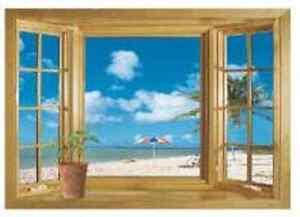 Ocean View Faux Window Tropical Beach Sea Removable Wall