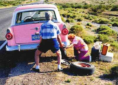 Old Couple Changing Tire Funny Anniversary Card Greeting Card by Avanti - Funny Old Couples