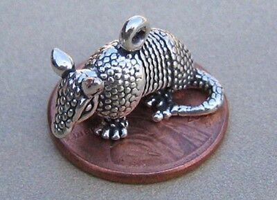 Texas Armadillo Charm Sterling Silver 3D Vintage Detailed -<! Armored Nice!