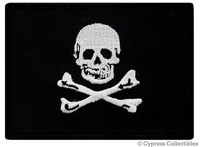 PIRATE FLAG iron-on PATCH JOLLY ROGER Skull Crossbones embroidered BLACK FLAG
