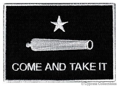 COME AND TAKE IT BLACK FLAG PATCH TEXAS REVOLUTION IRON-ON EMBROIDERED GONZALES