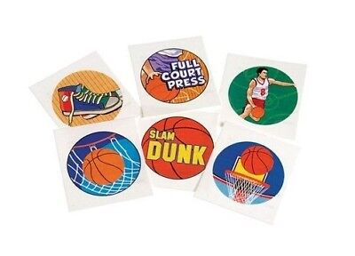 12 Basketball Temporary Tattoos Kid Sport Party Goody Loot Bag Favor Supply - Basketball Goodie Bags