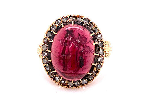 Vintage Garnet Cameo Diamond Cocktail Ring 8ct Antique Georgian 14K Gold