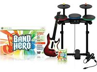 X Box 360 and Band Hero 3-kit plus Games
