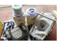 Nappy bins plus 2x refils, baby seat/carrier, booster seat etc buy lot £15 ring ONLY