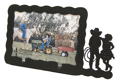 Western Couple 3x5 Horizontal Black Metal Picture Frame