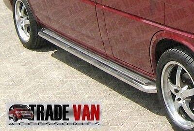 VW T4 TRANSPORTER SIDE BARS SIDE STEPS C2 SWB STAINLESS STEEL CHROME CARAVELLE
