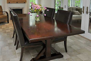 Thomasville Maple Trestle Dining Table and 6 leather chairs