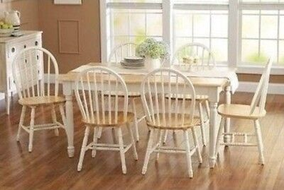 - 7 pc Dining Set Dinette Sets 6 Chairs Table Kitchen Room Furniture Chair White