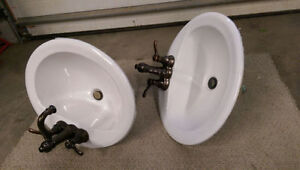 2 - Porcelain Sinks with Taps