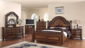 VINTAGE SOLID WOOD 6 PC QUEEN BEDROOM SET ON SALE (ND 188)