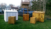 Custom Made wooden garbage bins, wishing wells and planters