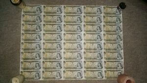 Uncut Sheet of Canadian One Dollar Bills 1973