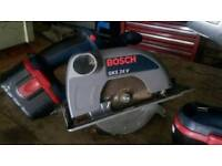 BOSH 24 VOLT CIRCULAR SAW WITH BATTERY AND BLADE AND CHARGER