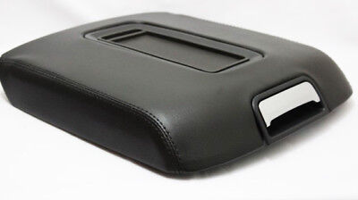 Fits 14-18 Chevy Silverado, Sierra Black Real Leather Console Lid Armrest Cover
