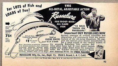 1951 Vintage Ad Russelure Fishing Lures Fly Rod & Trolling Models Los Angeles,CA