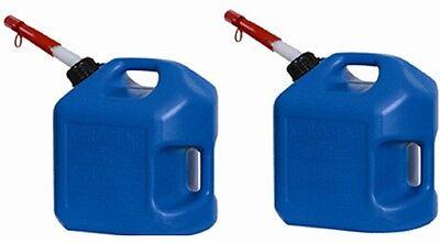 2 Ea Midwest 7600 5 Gallon Blue Plastic Spill Proof K-1 Kerosene Fuel Cans