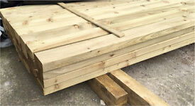 "🌲Easy Edge Wooden/ Timber Tanalised Lengths/ Rails • 4""X 2""X 14Ft •🌲"