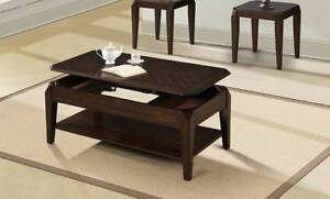 Lift top coffee table with bottom shelf,end tables available NEW