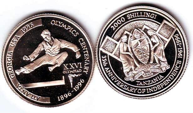 Ex.Rare 1996 Tanzania Silver 2000s pattern Olympic TaeKwonDo/Judo T2