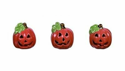 Fairy Garden Set of 3 Ceramic Halloween Jack-O-Lanterns - Buy 3 Save $5