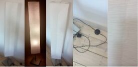 Argos Square Paper Shade Floor Lamp - Silver. Very good condition. 3 energy efficient bulbs included