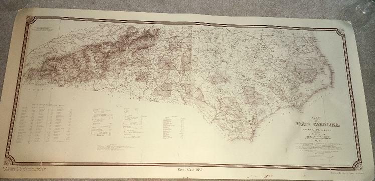 Vtg MAP NORTH CAROLINA 1882 WC KERR GEOLOGIST 1966  NC IN MAPS PRINT ART
