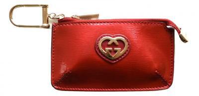 GUCCI Schlüsselanhänger Geldbörse Glanz shan 338193 520981 rot mit Herz