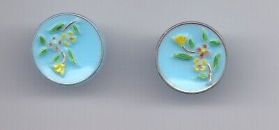 PAIR of vintage glass buttons -blue with flowers