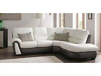 DFS white cream white brown real genuine LEATHER CORNER SOFA Lounger Suite