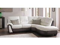 DFS white cream white brown real genuine LEATHER CORNER SOFA Lounge Suite