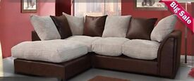 😱Flat 50% Off Now On😱Brand New Byron JUMBO Cord Corner Sofa/3+2 Seater Sofa in brown&black