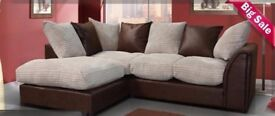 🔥💗🔥BLACK/GREY OR BROWN/BEIGE🔥 New Dylan Byron Jumbo Cord Double Padded Corner or 3+2 Seater Sofa