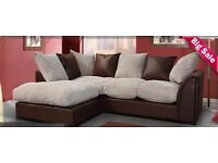 Brand New Byron Corner Sofa in Brown / Cream Or Grey / Black color! 3+2 seater 3 seater and 2 seater
