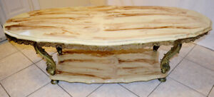 Large Luxury Victorian Marble Top Living Room Coffee Table