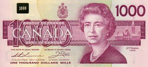 Canadian $1,000 / $1000 / One Thousand Dollar Bill bank note
