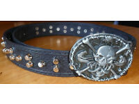 Leather belt handmade with studs and XXL