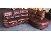DFS Brown Leather Corner Sofa .WE DELIVER