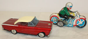 2 Old Tin Toys Friction Car & Windup Motorcycle