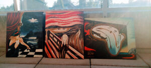 3 oil on canvas paintings. Already mounted.