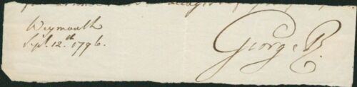 King George III SIGNED AUTOGRAPHED 1796 Clipped Signature (1738-1820)